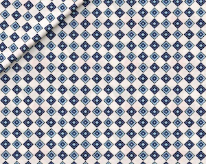 Fantasia Cotone Motivo a Quadri Bianco e Blu