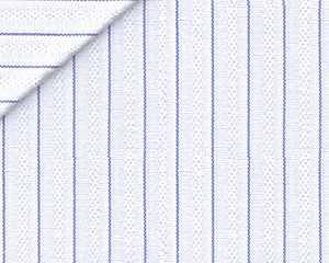 Cotone Operato con Micro Riga Blu Notte